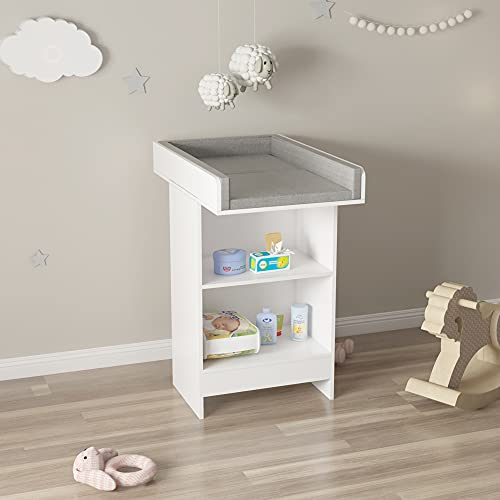 ECD Germany Mueble Cambiador para Bebés con 2 Compartimentos Incluido Cambiador Extraible 60 x 103 x 88 cm Bañera Blanca de Madera Cunas con Colchoneta Cómoda Cajonera Organizadora Infantil