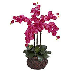 Nearly Natural Phalaenopsis with Decorative Vase Silk Flower Arrangement