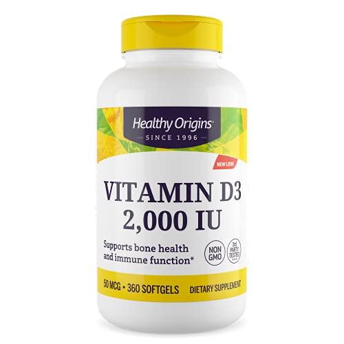 Healthy Origins, Vitamina D3, 2.000 IU, Depot 2-Day-Dose, 360 Softgels, Testato in Laboratorio, Senza Glutine, Senza Soia, non OGM