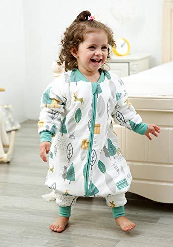 flqwe Saco De Dormir Bebé Todo El AñO,Saco de Dormir 100% algodón para bebé-Engrosado E_90-100cm,Bebé Manta PortáTil Saco De Dormir Bebé