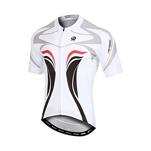 Unkoo Maillot de ciclismo blanco para hombre, cremallera completa que absorbe la humedad, camisetas de ciclismo de carreras para hombre, cómodo, súper transpirable y de secado rápido, cremallera refle
