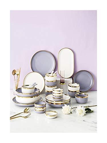 De vajilla de China vajilla cerámica Placas de Phnom Penh y Conjuntos Cuencos de los restaurantes y los regalos de boda de estilo europeo de cena de China Set ( Color : Purple , Size : 4 people b )