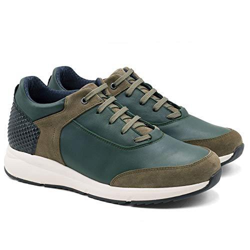 Zapatos de Hombre con Alzas Que Aumentan Altura hasta 7 cm. Fabricados EN Piel. Modelo Arizona (Verde, Numeric_42)