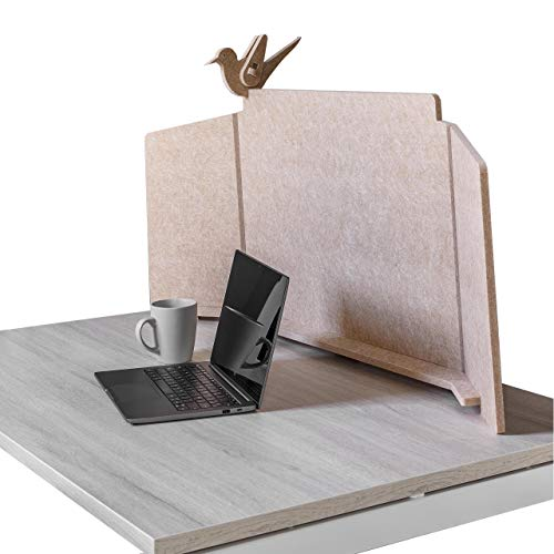 ECObird - Separador de Oficina - Organiza, Personaliza y Protege tu Espacio de Trabajo, Divisor Eco-Friendly para Escritorios, 108 x 49 cm - Camel