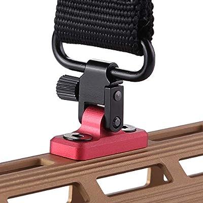 TuFok Mlok Sling Mount Stud - Gun Sling Swivel for Mlok System,Rifle Sling Mount fit Uncle Mikes Style Sling Swivel Stud, Low Profile Design,Aluminum Black (RED)