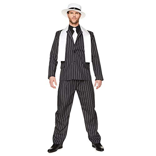 Gangster Boss Mens Fancy Dress 20s Mafia pinstripe pak volwassenen 1920 kostuum XL (46 -48