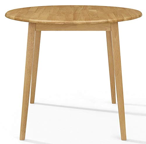 ADHW Small Wooden Kitchen Drop Leaf Round Dining Table in Oak Finish  100% Solid Wood