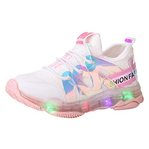 Jaysis Freizeitschuhe Stoff Kind-Kind-Baby-Jungen-ineinander greifen-Buchstabe führte leuchtende Sport-laufturnschuh-Schuhe Superfit Kinderschuhe Jungen gelb rosa