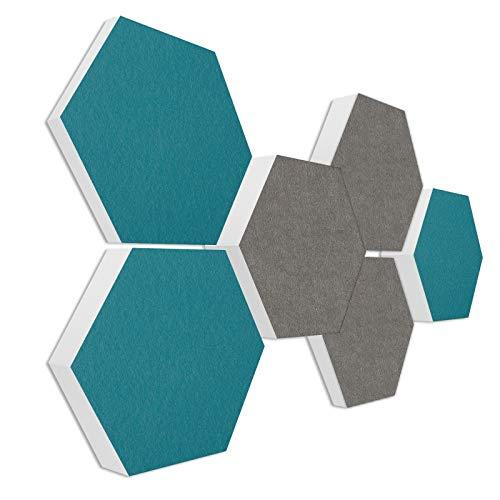 "Basotect G+ Schallabsorber 3D-Set""Colore"" Akustikelemente Filzoberfläche GRANITGRAU + PETROL"