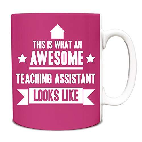 Thee Mok, Witte Keramische Mok Koffiemok Roze Dit is Wat een Geweldige Teaching Assistant eruit ziet als Gift Idea Werk 11 Ounces