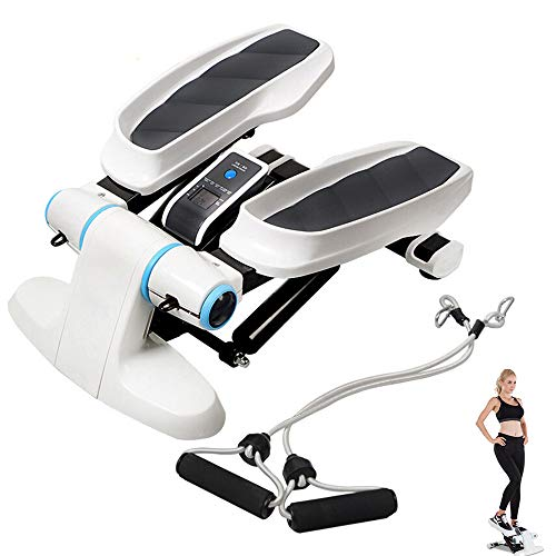 LOVEHOUGE Máquina de pasos portátil, máquina de ejercicios de fitness con bandas de resistencia y monitor LCD, resistencia ajustable, rodamiento de carga de 250 libras