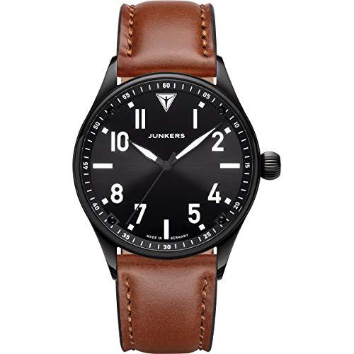 Junkers Flieger Analog Quarz Uhr Lederarmband Saphirglas schwarz 9.03.01.02