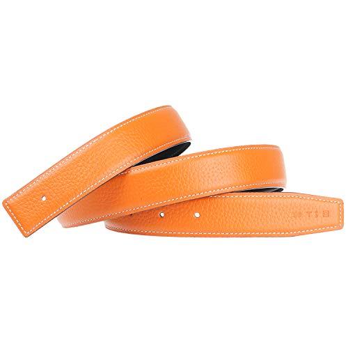 GANGTU Cinture di Ricambio in Pelle Cinghia Reversibile Vera Pelle Cintura di Ricambio Larghezza 32mm - per H Fibbia Arancione