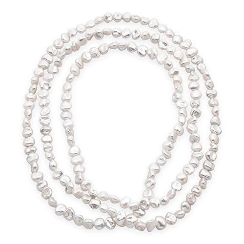 Secret & You Damen Perlenkette Strang Freshwater Cultured Baroque Keshi 120 cm lang Barocke Keshiperlen 7-9 bis 8-10 mm Verknotet alle 4 Perlen