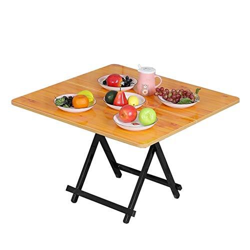 Mesa plegable, mesa de comedor cuadrada, mesa de café, mesa de estudio, mesa de picnic portátil, para el hogar, dormitorio, al aire libre, 2 colores (color: B, tamaño: 80 cm)