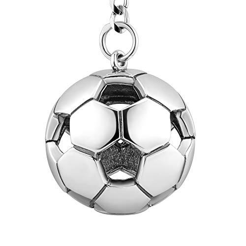 STERLL Herren Schlüssel-Anhänger Fußball Silber 925 Oxidiert Schmuck-Beutel die Besten Männer Geschenke