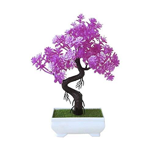 globalqi Kunstmatige planten, bloemen,simuleren planten kunstmatige bonsai met bloempot pot, kunststof kunstmatige plant in vaas voor binnendecoratie, keuken, tuin, woonkamer, kantoor, decoratie door