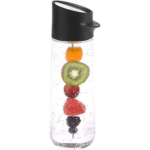 WMF Nuro Wasserkaraffe 1,0l, mit Fruchtspieß, Höhe 29,7 cm, Glas-Karaffe, CloseUp-Verschluss, schwarz