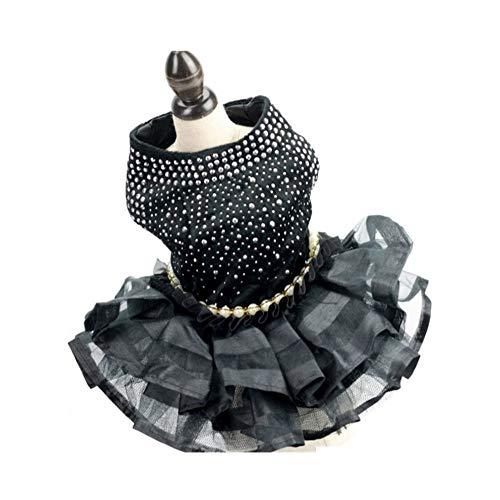 3°Amy Hundekleid Hochzeit Tüllrock Schicht reizvolle Schwarze Haustier-Outfit Kleider XS S M L XL (Color : Black, Size : XL)