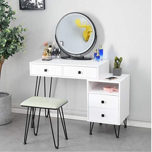 Yililay Vanity Set with Touch Screen Dimming Mirror,White Iron Dresser Solid Wood Makeup Desk Storage Modern Bedroom Makeup Table and Cushioned Stool Set for Women Girls.