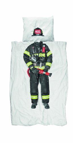 Snurk Dreaming Feuerwehrmann Bettbezug, Perkal, für Einzelbett, Platzierter Druck, weiß