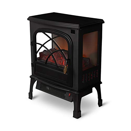 Limina LIM-19-100005 Indoor Electric 1500 Watt Stove Fireplace Infrared Quartz Space Heater, Black Electric heaters Space