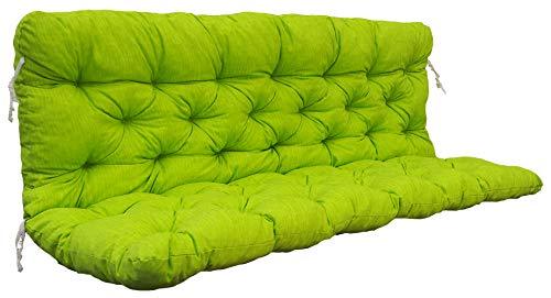 Ambientehome Auflagen 3er Bankkissen Bankauflage Polsterkissen 150x98x8 cm grün/gelb