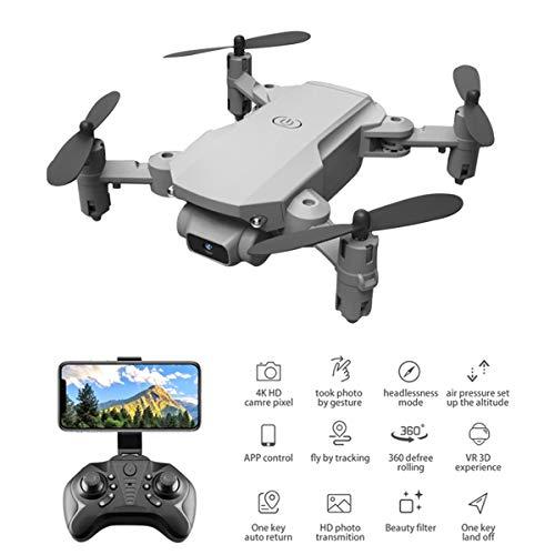 LNLJ WiFi FPV 4K HD-Kamera-Drohne, Faltbar Drone RC Quadcopter Mit Altitude Hold, Schwerkraft-Steuerung, Gesture Sensing, Spielzeug Für Erwachsene Anfänger,Grey White