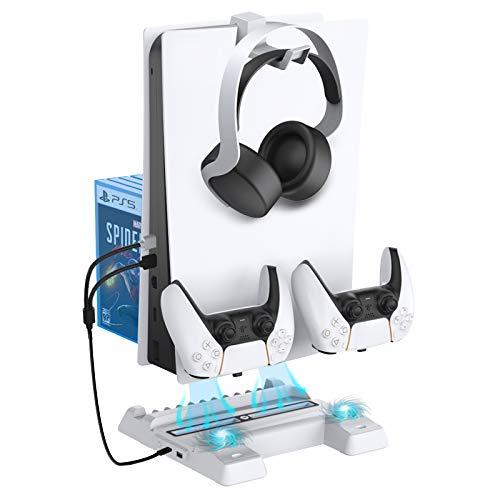 NexiGo Soporte Vertical con Ventilador de Refrigeración para Playstation 5, Soporte para Auriculares, Estación de Carga del Mando PS5, Adicional Puerto de USB y Almacenamiento para 11 Juegos