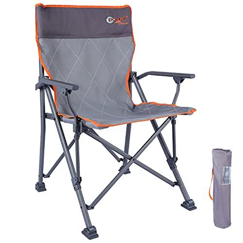 Portal Campingstuhl faltbar mit hoher Rückenlehne belastbar bis 120kg mit Getränkehalter harten Armlehne Klappstuhl tragbar für Camping Picknick Garten Balkon