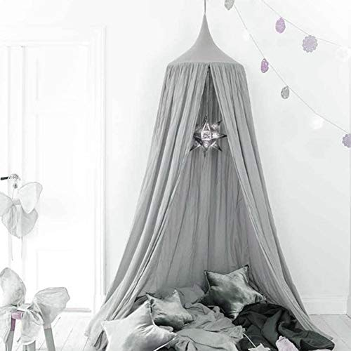 ONMIER Kids Bed Canopy with Pom Pom Hanging Mosquito Net for Baby Crib Nook Castle Game Tent Nursery Play Room Christmas Decor (Grey)