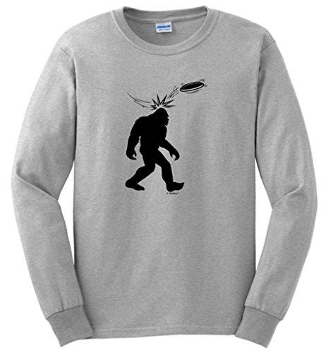Disc Golf Frisbee Sasquatch Long Sleeve T-Shirt Large Ash