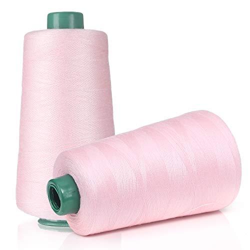 縫い糸 ミシン糸 60番手 3000ヤード 2740m巻 100%ポリエステル 家庭糸 DIY用糸 縫製糸 主に手縫いやミシンに使う裁縫手芸 刺繍用糸(2巻入り)(ピンク)