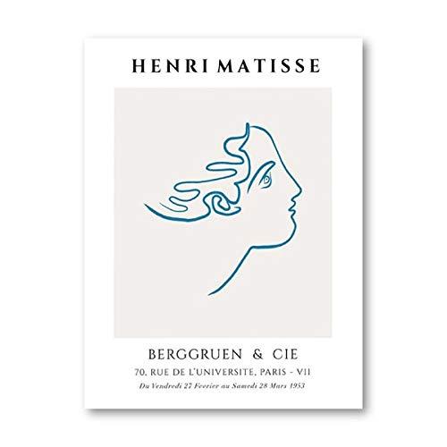 Póster de exposición de impresión de arte abstracto de Matisse, dibujo lineal minimalista de cara, imagen artística de pared de Matisse, decoración del hogar, lienzo sin marco J 30x45cm