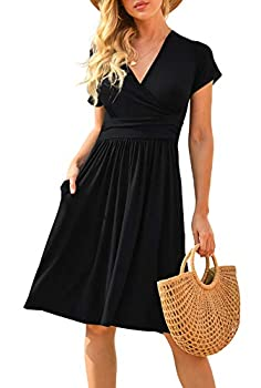 LILBETTER Women s Summer Casual Short Sleeve V-Neck Short Party Dress with Pockets Black X-Large