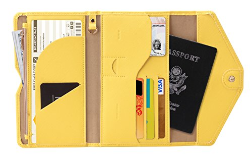 Zoppen Multi-purpose Rfid Blocking Travel Passport Wallet (Ver.4) Tri-fold Document Organizer Holder, 22 Primrose Yellow