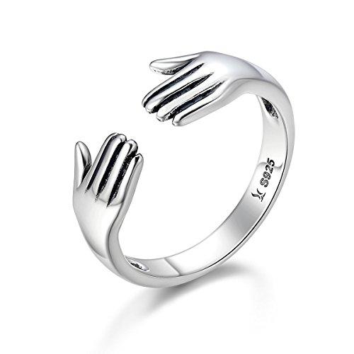 925 Sterling Silber Doppelschicht Geben Sie mir eine Umarmung Hand offene Fingerringe für Frauen