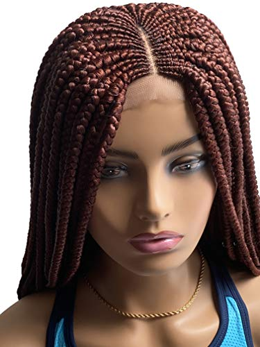 JBG SERVICES Adoara Braid Wig - Handmade Cornrow Braiding Wigs for African American Women - Box Braids with Natural-Look 4X4 Lace Closure - 2 Pins Included - Color 35 Copper Red 22 Inches Long