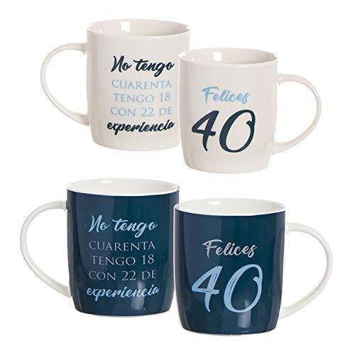 Hogar y Mas Taza de Porcelana de cumpleaños de 40 años con Frase, Color azúl y Blanco. Diseño Original y Moderno. Regalo Original 8.3 x 8.3 x 10cm 350ml. (Blanca)