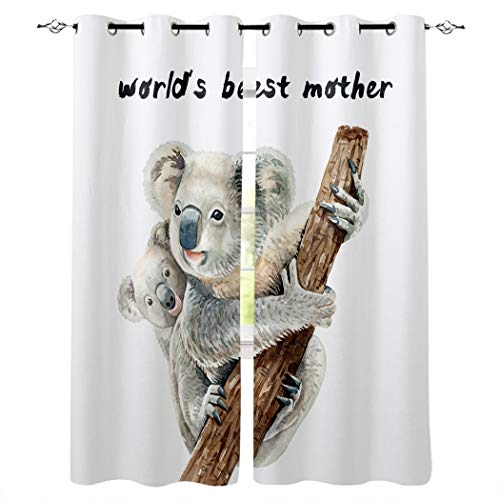 Window Curtains for Bedroom - Grommet Thermal Insulated Room Darkening Semi Sheer Curtains for Living Room, Set of 2 Panels (40x63 Inch, World's Best Mother Cute Koala Mother and Child)