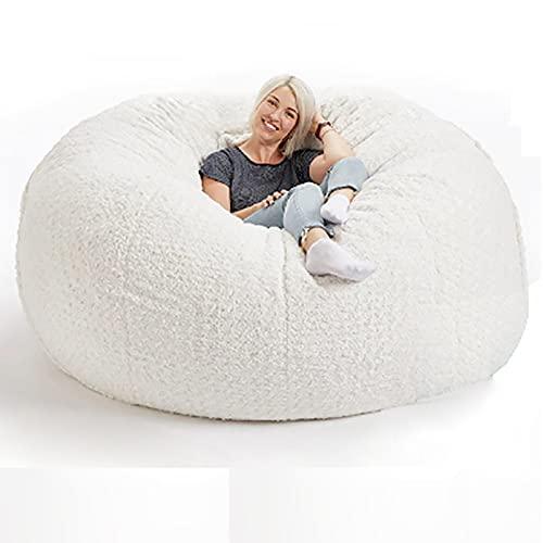 De la bolsa de frijoles de piel gigante   Funda de sofá grande para sofá y silla de puf   Muebles para el hogar Sala de estar   Ligero, suave y cómodo   Sin relleno(Color:3,Size:5FT 135X65cm)