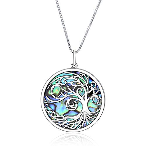 YFN 925 Sterling Silver Abalone Tree of Life Pendant Necklace for Women, 18'