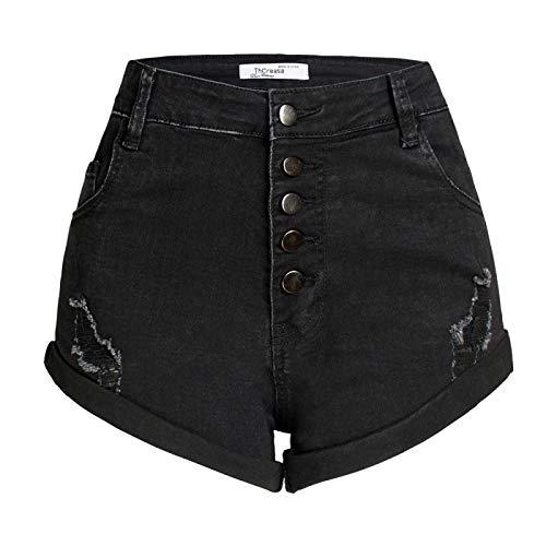 Corumly Pantalones Cortos de Mezclilla para Mujer Pantalones Cortos de Mezclilla con Bolsillo de Cintura Alta con Personalidad clásica Europea y Americana Pantalones Cortos Casuales de Moda XXL
