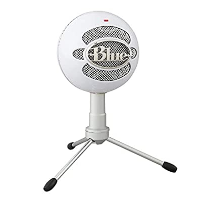 Blue Microphones 988-000181 Snowball Ice USB Mic for Recording and Streaming on PC and Mac, Cardioid Condenser Capsule, Adjustable Stand, Plug and Play - White