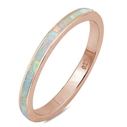 Oxford Diamond Co .925 Sterling Silver Womens Created Opal Eternity Wedding Stackable Band Ring Sizes 4-12 Colors (Rose Gold Plated White Opal, 8)