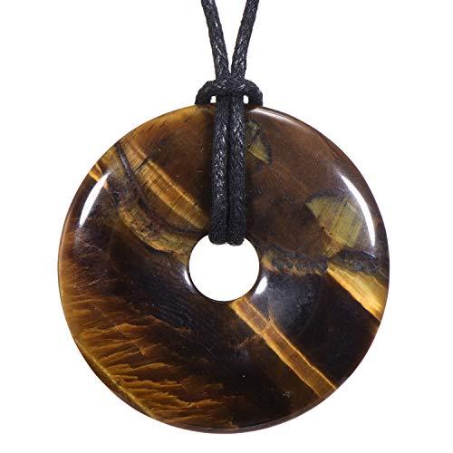 Morella Collar para Mujer 80 cm y Colgante de Gema en Forma de Donut Ojo de Tigre en Bolsa de Terciopelo