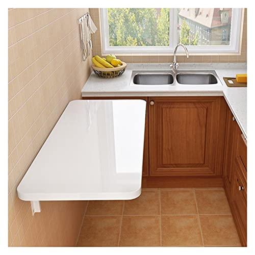 GHHZZQ Heavy Duty Mesa De Pared Plegable Diseño De Ángulo Redondeado Escritorio De Cocina Plegable Multifunción por Cocina/Comedor (Color : White, Size : 50x30cm)