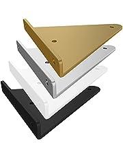 2 stuks onzichtbare plankhouders met montagetoebehoren, DIY metalen plankhouders, Iron Art driehoekig, wanddragers voor woonkamer, keuken, boekenrekken (140 mm, zwart)