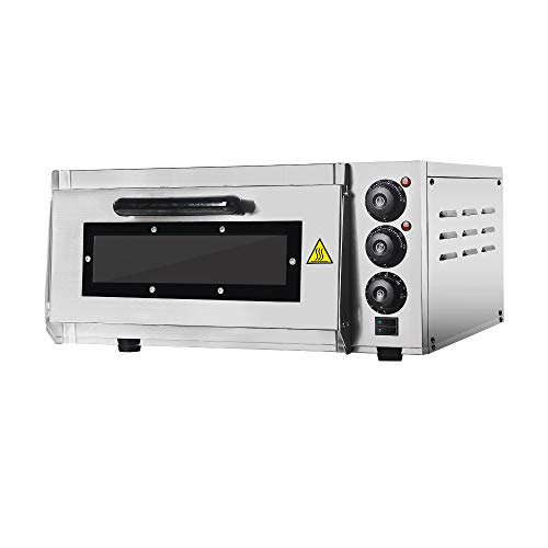 Professional Pizza Oven with 400 x 400 mm Ladrillos refractarios Back Surface, Gastro Horno de piedra for Pizza, Bread And Pastry, 2000 W, la temperatura del Horno puede hasta 350 °C ajustarse