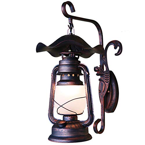 Wandleuchte Antike Elegante Wandleuchte Innenbeleuchtung Außenwandleuchte Single Flame E27 Bronze Dekorative Laterne Alte Petroleumlampe, Eisen + Glas Material Wandbeleuchtung